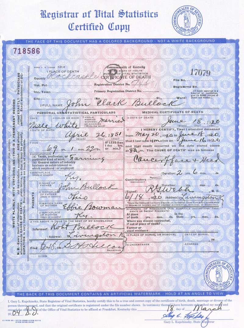 Rockcastle kygenweb death certificate images bullock john clark marvin gregory aiddatafo Image collections
