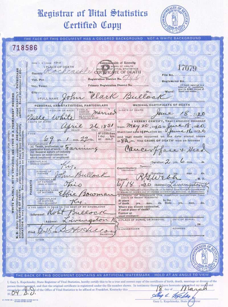Rockcastle Kygenweb Death Certificate Images